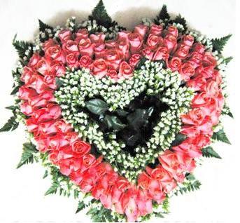 HV-NH-L-387 - 100 hoa hồng hình trái tim (màu bạn chọn))