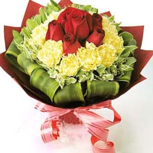HV-NH-L-389 - 7 red roses surround by 12 yellow or white carnations bouquet)
