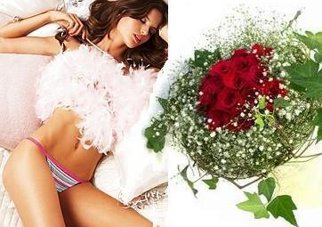 Gifts to Vietnam. Hochiminh city only - Victoria Secret panties and rose bouquet (ID: HV-NH-V-9059)