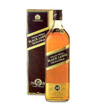 Johnie Walker Black Label 36 Fl.oz (1000 ml). Made in France (ID: HV-NH-W-842)