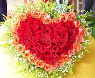 HV-NH-L-385 72 hoa hồng đỏ và champane hình trái tim(ID: HV-NH-L-385)