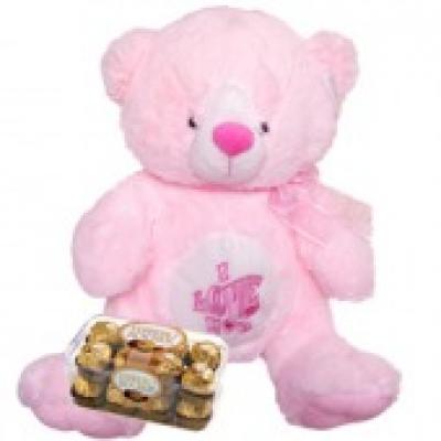 Pink Teddy Bear & Chocolate(ID: TH-PINK-TB-CHOCO)