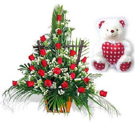 Hoa hồng và gấu Teddy bear HV-L-377(ID: HV-L-377)