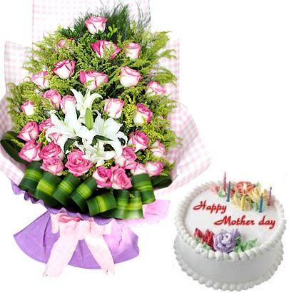 Bouquet of 24 roses and 2 lily stems, a cream cake (ID: HV-M-4018)