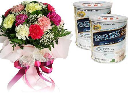 Bouquet of 12 carnations, 2 boxes of Ensure formula (ID: HV-M-4020)