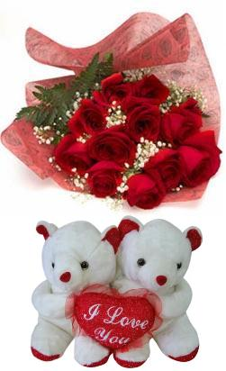 Bouquet of 12 roses, 2 small bears HV-NH-L-367 (ID: HV-NH-L-367)