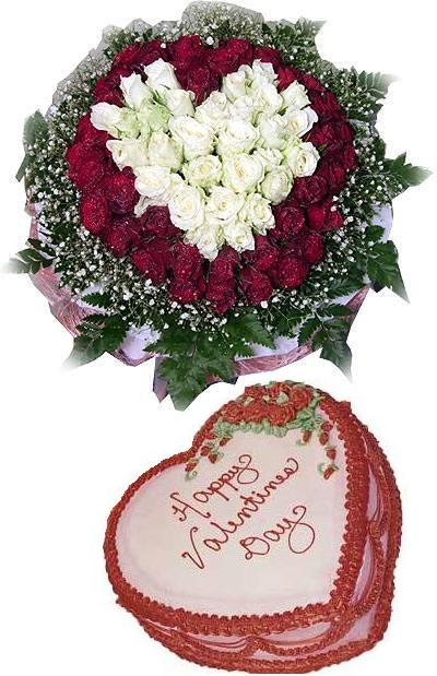99 red and white roses bouquet and a cream cake 20cm (ID: HV-NH-L-348)