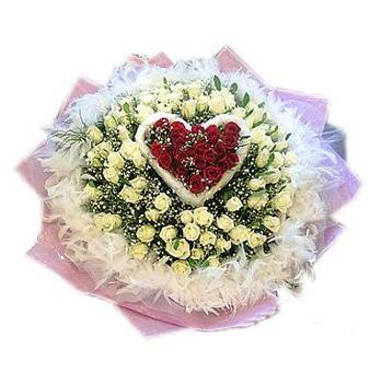 HV-NH-L-353     99 white and red bouquet (ID: HV-NH-L-353)