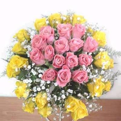 HV-NH-L-310  30 hoa hồng vàng và hồng(ID: HV-NH-L-310)