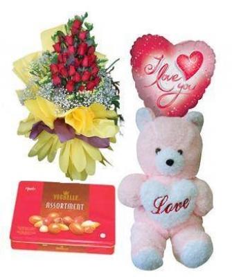 HV-NH-L-313 Bộ quà gấu, hoa và chocolate(ID: HV-NH-L-313)