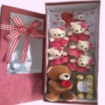 6 Teddy Bears & Chocolate (ID: TH-6-TB-CHOCOLATE)