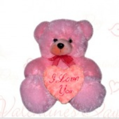 Pink Teddy Bear & Heart (ID: TH-PINK-TB-HEART)